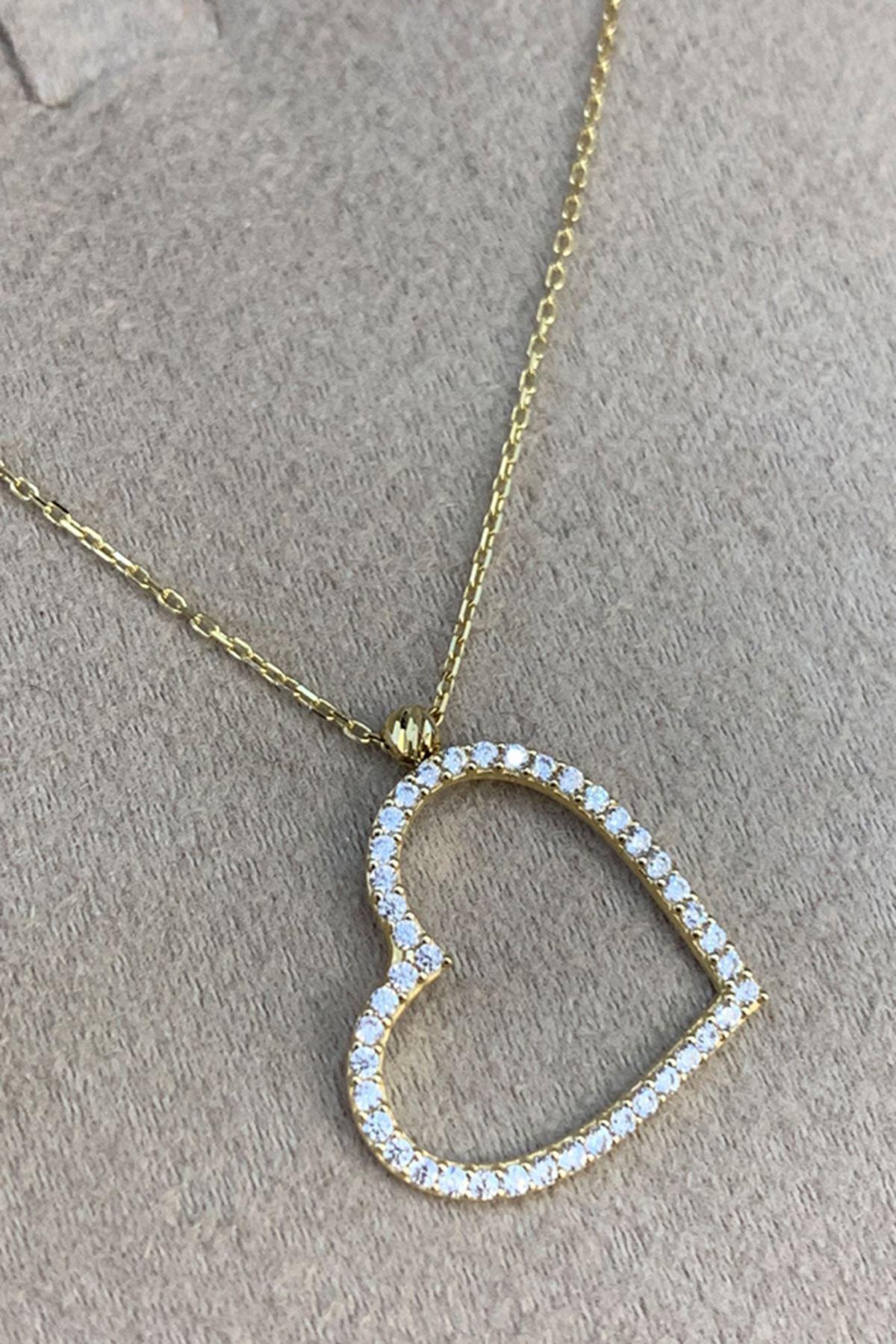 Taşlı Kalp Altın Kolye KL0044
