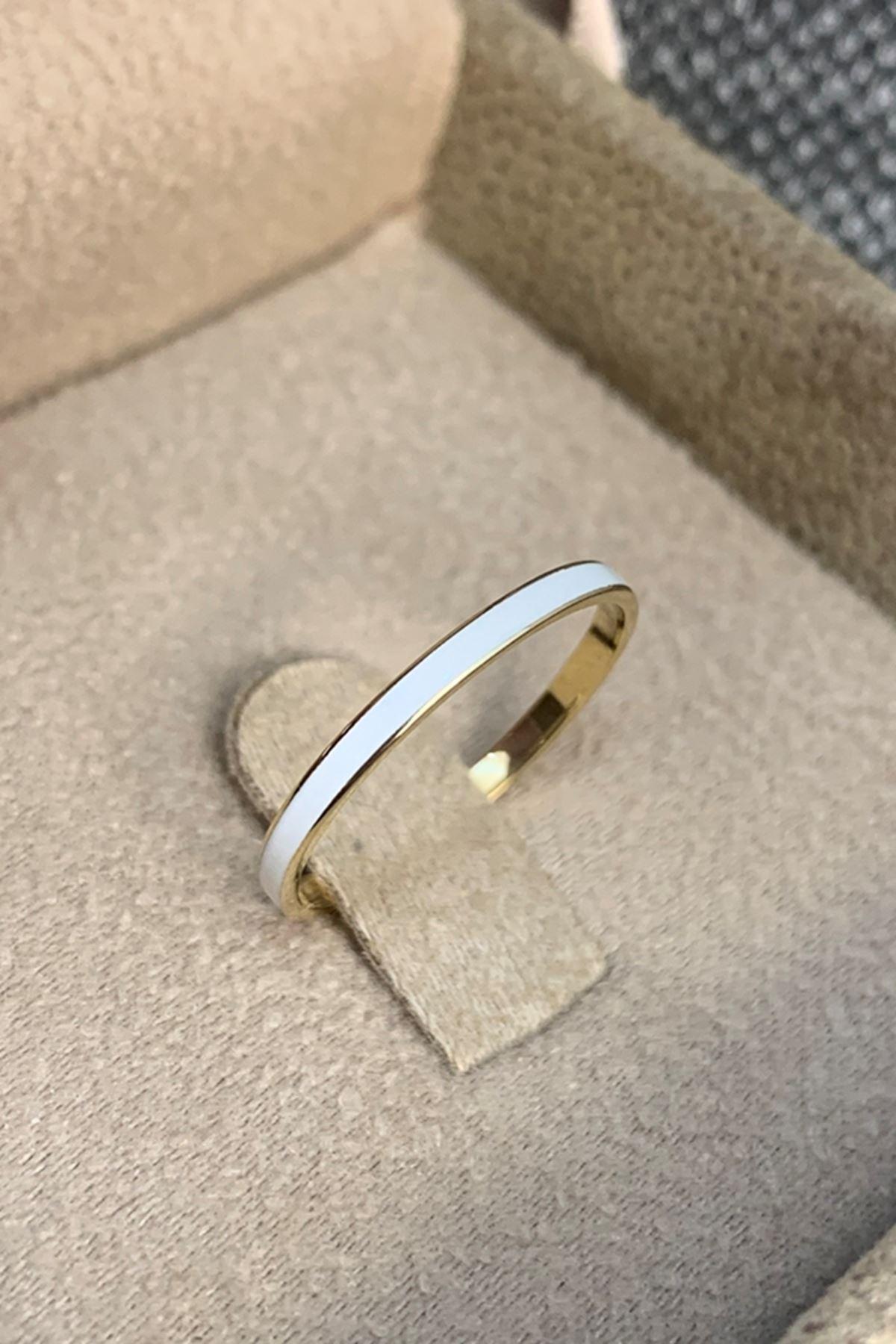 Beyaz Mineli Altın Yüzük Y00597
