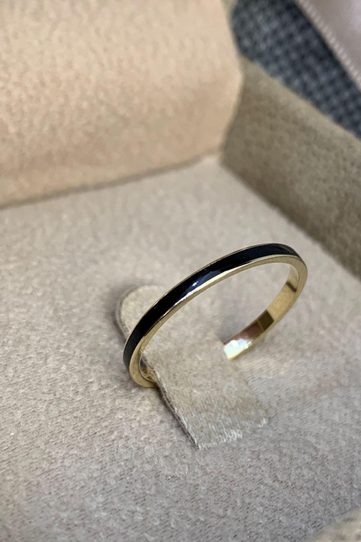 Siyah Mineli Altın Yüzük Y00617