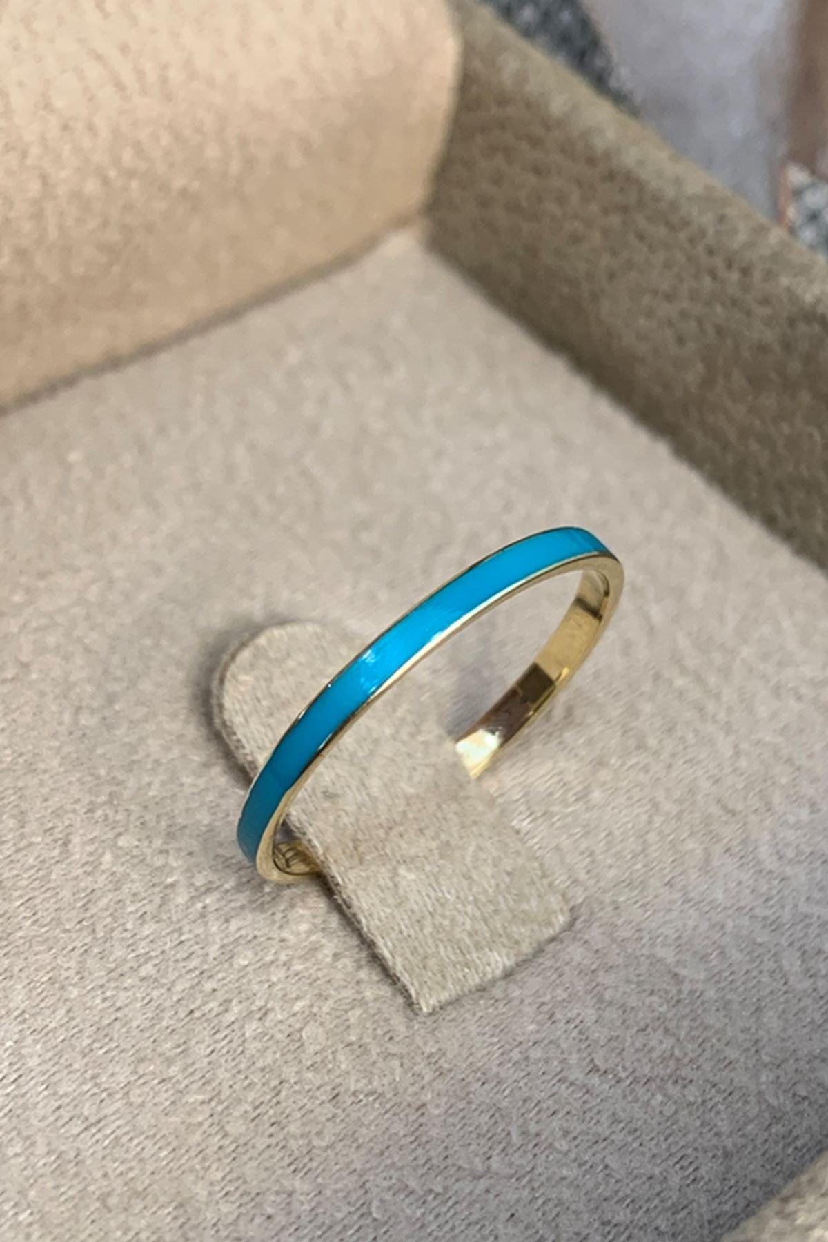 Mavi Mineli Altın Yüzük Y00599