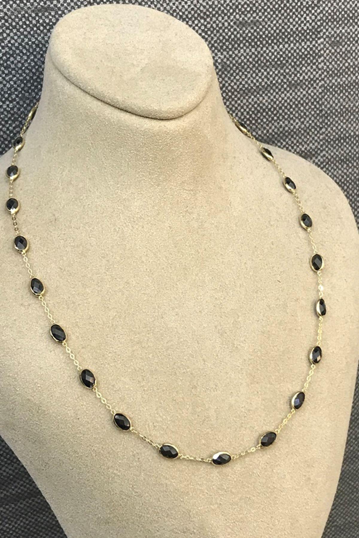 Siyah Taşlı Tiffany Zincir KL0210
