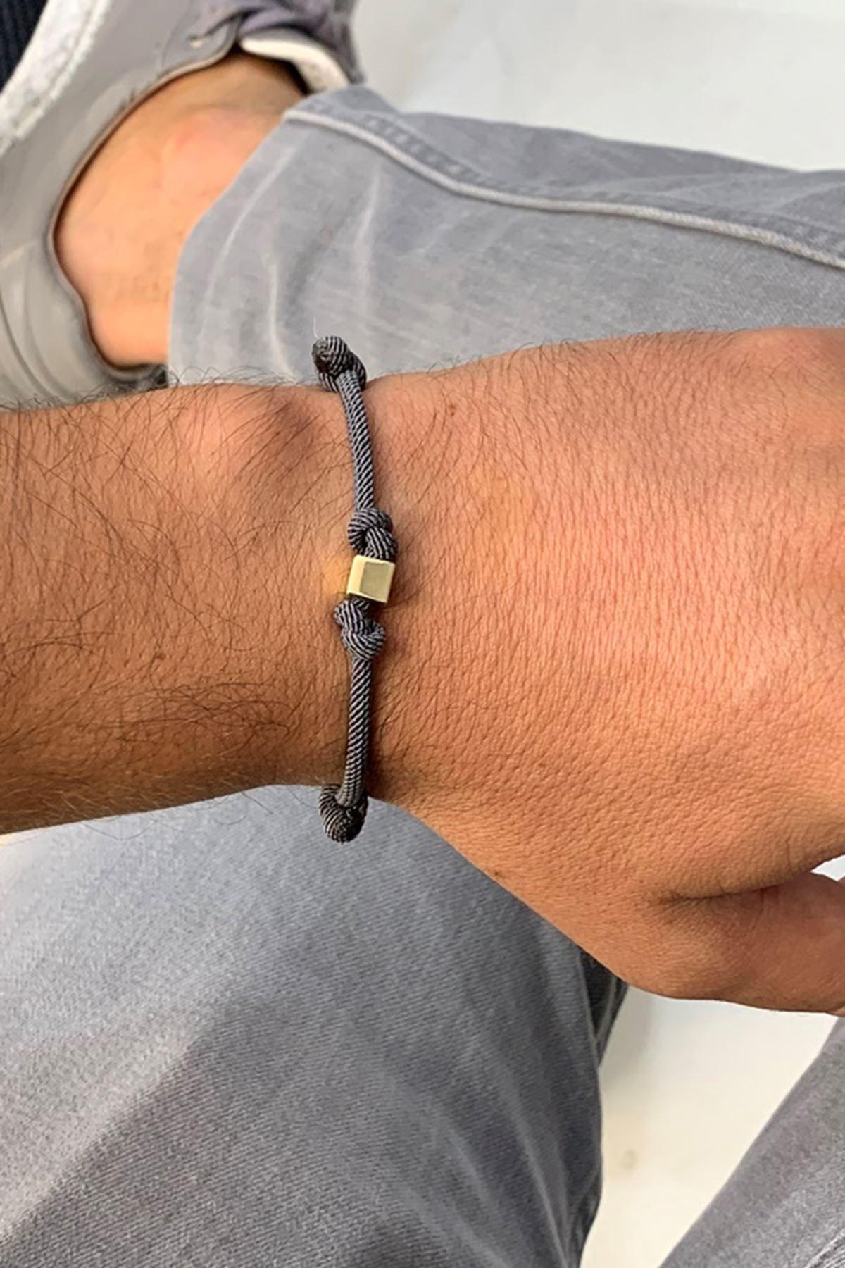 Unisex İpli Altın Bileklik Y01000 Siyah