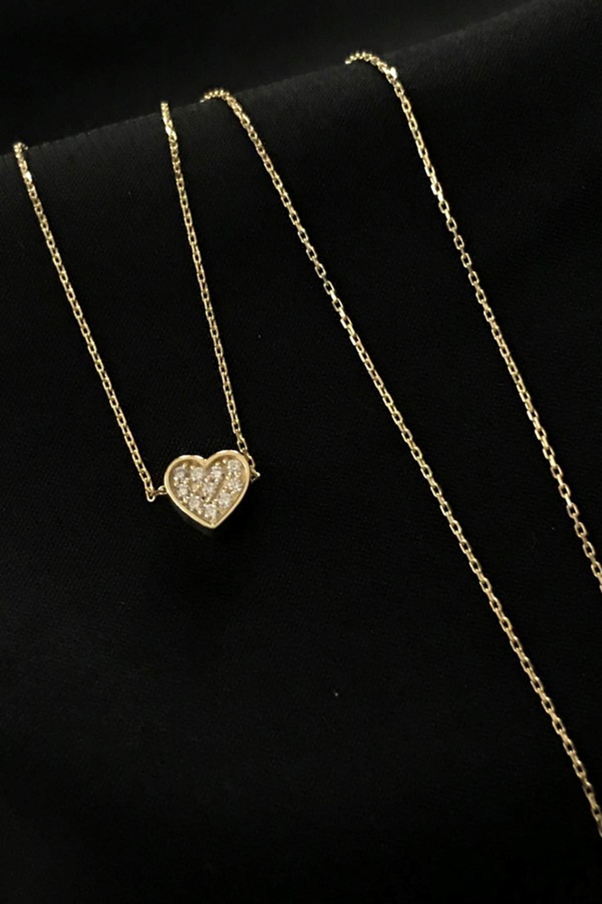 Taşlı Kalp Kolye 8A0007