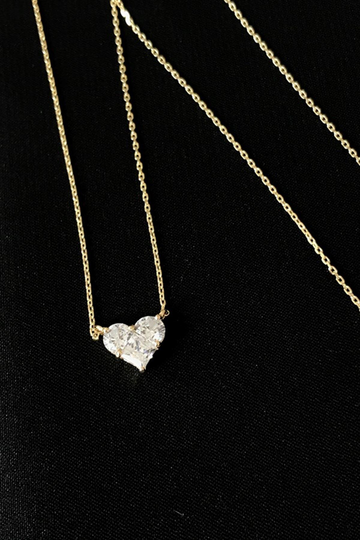 Taşlı Kalp Kolye KL0266